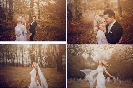bride walking in golden autumn nature wedding