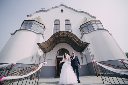 bible altar: wonderful wedding in the Church, in the summer in the old town