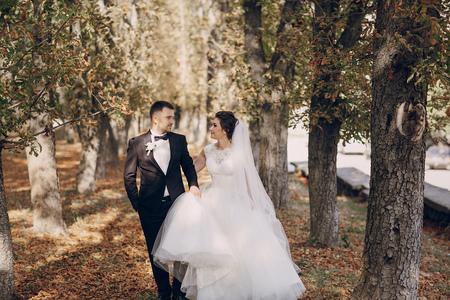 fall in love: a wonderful autumn wedding beautiful happy couple