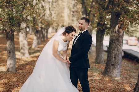 femme romantique: a wonderful autumn wedding beautiful happy couple