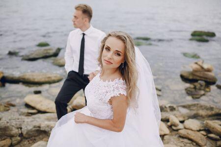 beautiful blonde couple celebrate their wedding day Stock Photo