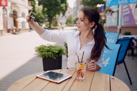 business woman enjoys gadgets