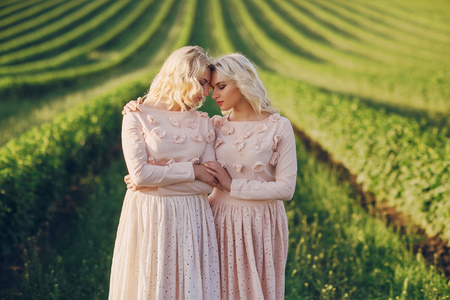 Twins in the field Stock Photo