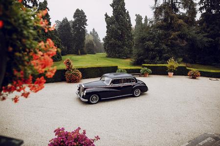 automobile door: bride and groom