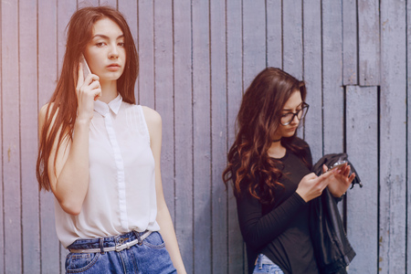 lady on phone: beautiful young model Stock Photo