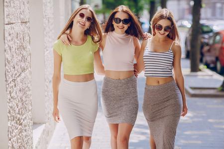 beautiful girls on the street Standard-Bild