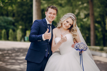 beautiful couple in a Park Stock Photo