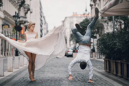 wedding day in Budapest Stockfoto