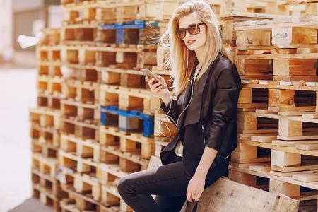 beautiful blonde on the street Фото со стока