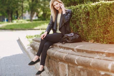 beautiful blonde on the street Stock Photo