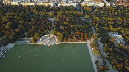 flight drones over the famous Park of the Retiro of Madrid