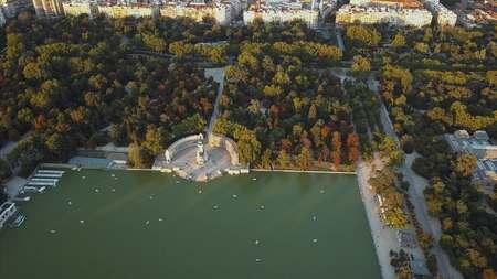 parque del buen retiro: flight drones over the famous Park of the Retiro of Madrid