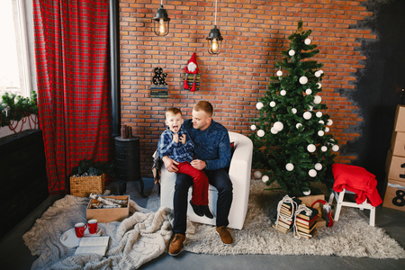father and son in the holiday spirit Stock Photo