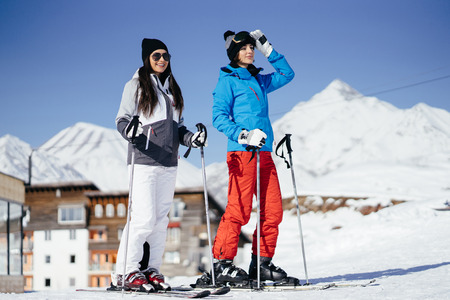 girls with ski outfit