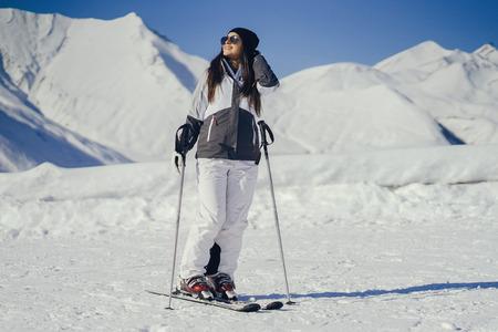 girl with ski Stock fotó