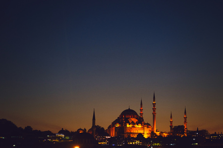 blue masque in Istanbul Turkey during sunset Stock Photo