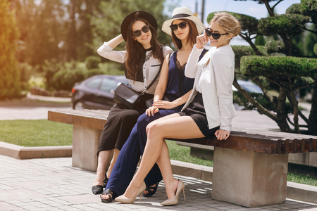 beautiful young girls outdoors in Sunny weather Stock Photo