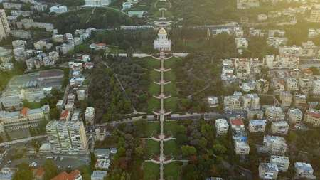 flyover of a park in israel during the summer 写真素材