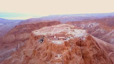 flyover of the desert by the dead sea in Israel