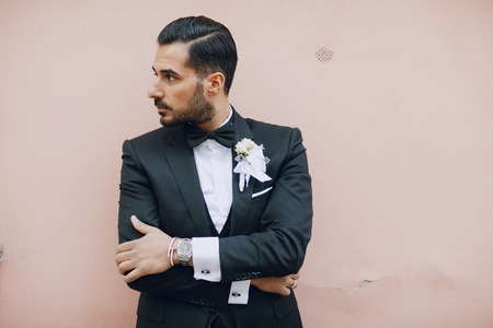 stylish groom black suit