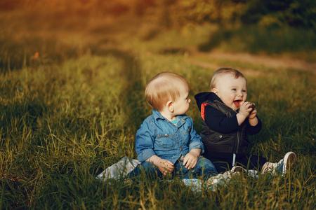 children in the grass