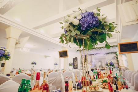 wedding restaurant with decorations and food Stock Photo