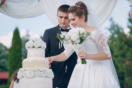 couple with wedding cake