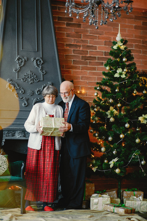 An elegant old couple are celebrating Christmas Banco de Imagens