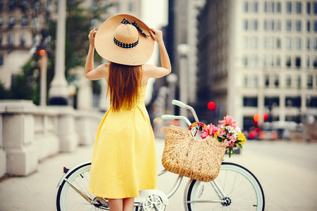 pretty girl with bicycle Stock Photo