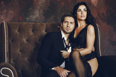 Sexy couple at home Banco de Imagens