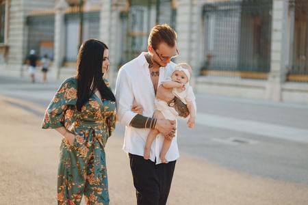 family in a town Archivio Fotografico