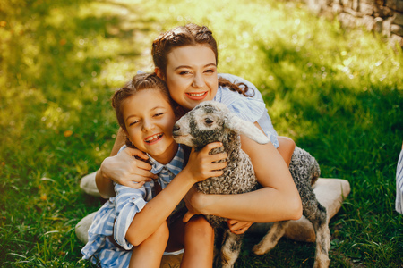 beautiful girl with goat Stock Photo