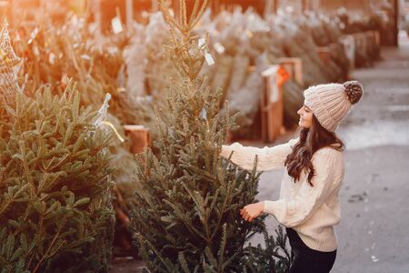 Cute brunette in a white sweater with Christmas tree Stock Photo