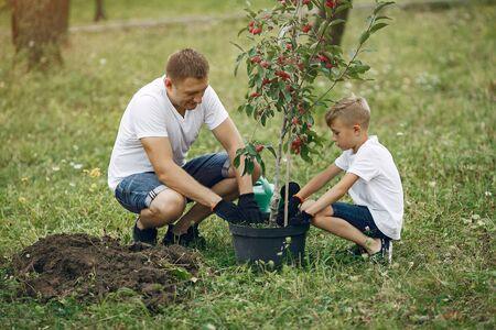Le père avec le petit fils plante un arbre sur une cour