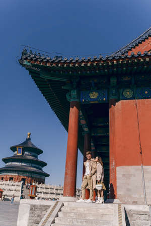 lovely couple exploring tourist attractions in Beijing China