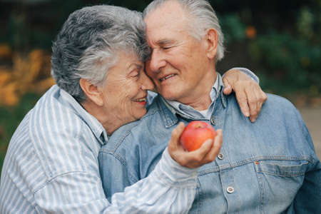 Beautiful old couple spent time together in a park