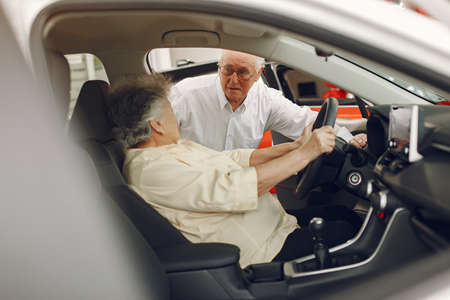 Elegant old couple in a car salon