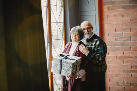 An elegant old couple are celebrating Christmas Zdjęcie Seryjne - 159595566