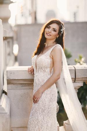 Elegant bride in a city