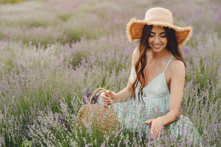 Young woman collects lavender in a basket Zdjęcie Seryjne