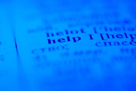 lexical: Help word on blue background Stock Photo