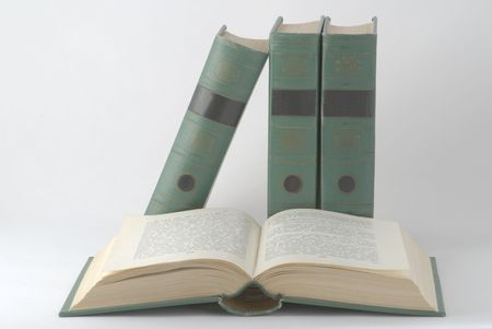 Open book with green cover on the background