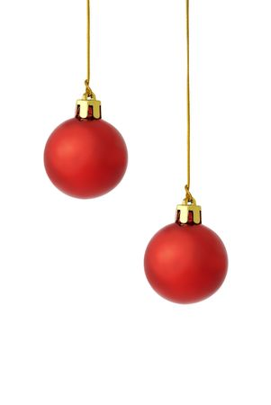 hristmas: Ñhristmas tree ball with golden thread isolated over white Stock Photo