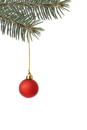 Christmas tree ball with golden thread isolated over white photo