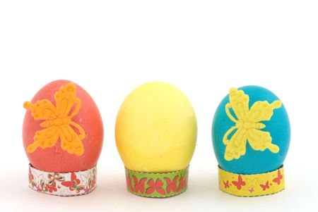 Easter eggs on white background. Selective focus photo