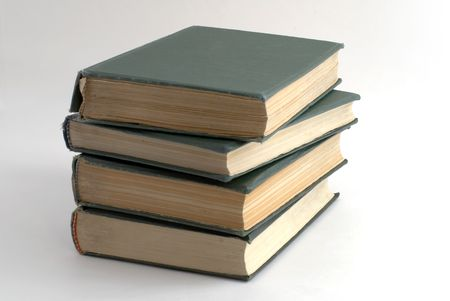 Old books with green cover Stock Photo