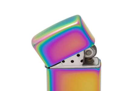 Golden metal cigarette lighter. Selective focus photo