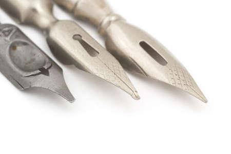 selective: Old silver fountain pen. Selective focus Stock Photo
