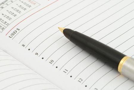 Diary and fountain pen. Selective focus photo