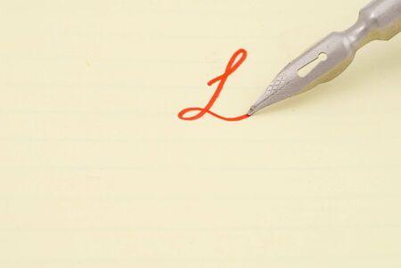 Old fountain pen. Selective focus photo